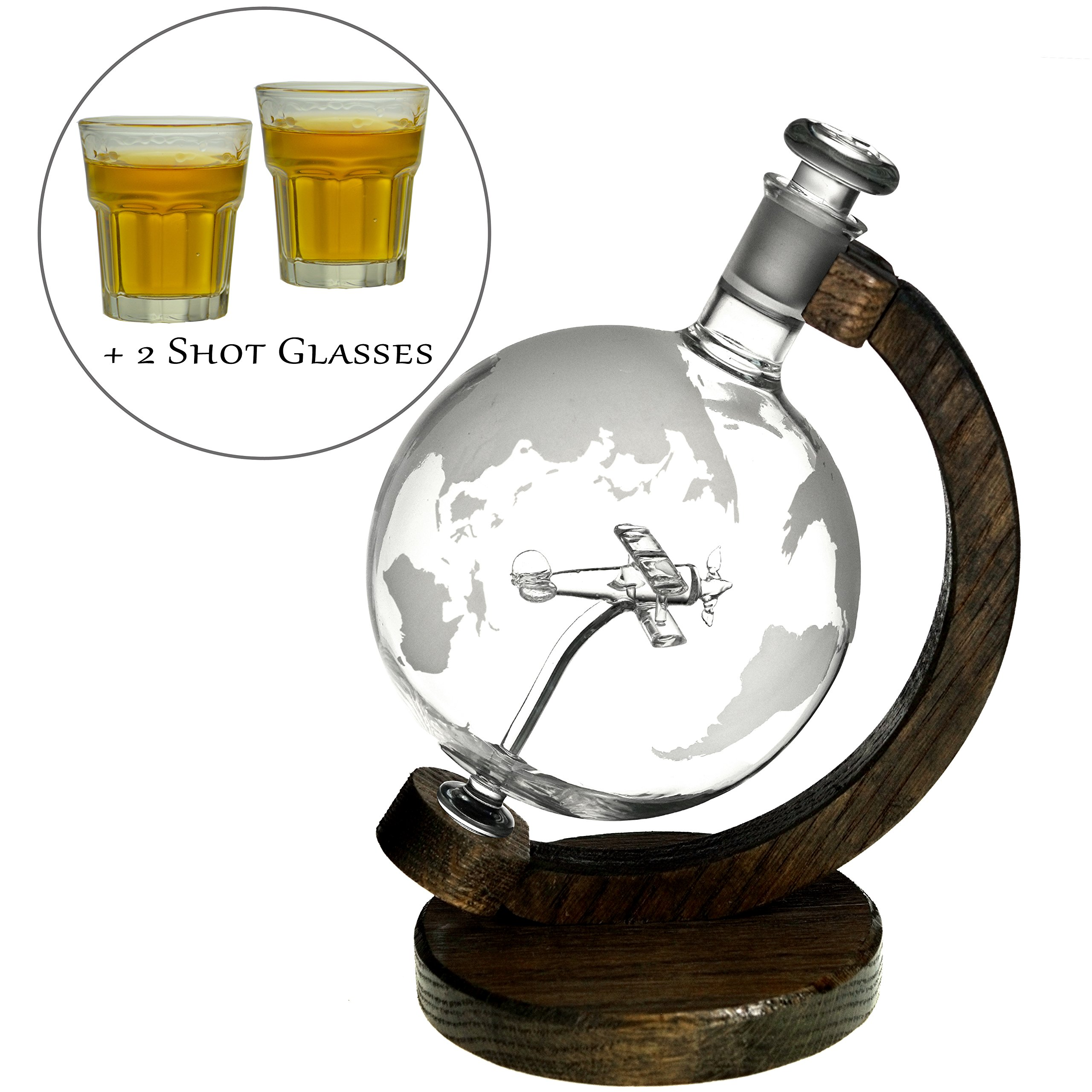 Etched Globe Liquor Decanter - Scotch Whiskey Decanter - 1000ml Glass Decanter for Alcohol - Vodka, Bourbon, Rum, Wine, Tequila or Even Mouthwash - Sopwith Camel 1000ml Shot Glass Bundle