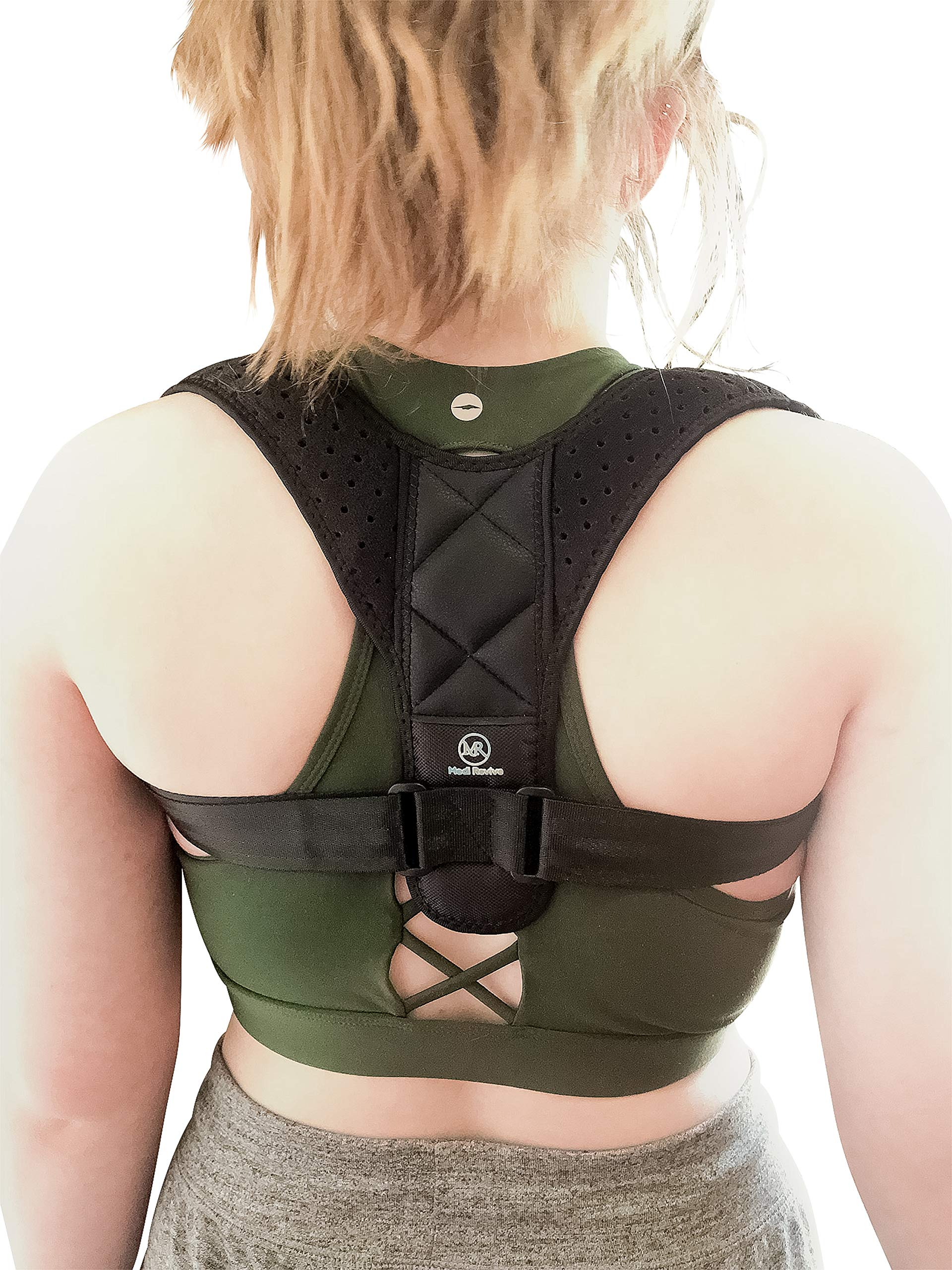 Back Posture Corrector by MediRevive - Discrete Comfortable Adjustable Brace - for Women, Men, Teens and Kids - Premium Breathable Upper Shoulder and Clavicle Support Relieves Discomfort