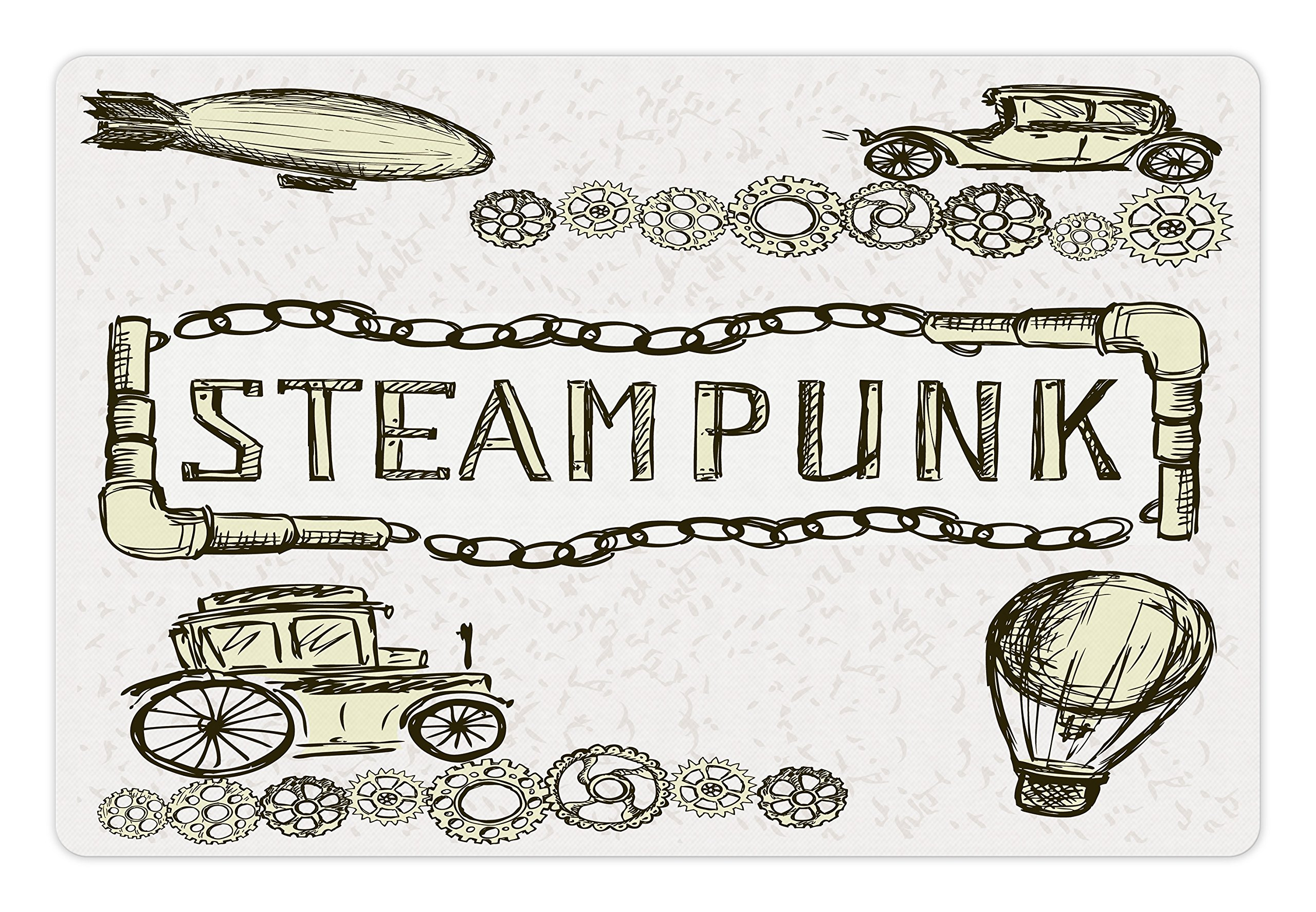 Ambesonne Sketchy Pet Mat for Food and Water, Balloon Antique Cars Design with Words in Middle Saying Steampunk… 3