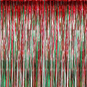 Sumind 6 Pack Foil Curtains Backdrop Fringe Tinsel Metallic Curtains Photo Backdrop for Wedding Birthday Party Stage Decor (Green and Red)