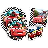 Ciao Y2498 Kit vaisselle fête anniversaire jetable Cars pour 8personnes (44pièces: 8grandes assiettes, 8assiettes moyennes, 8gobelets, 20serviettes)