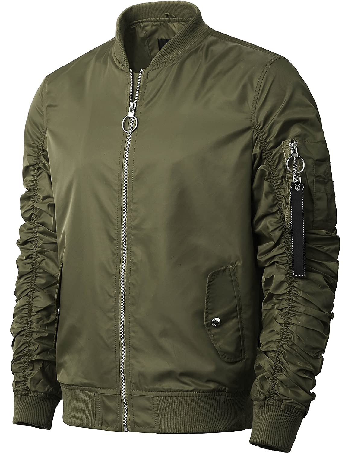 2150a0e5000 Amazon.com  Hat and Beyond Mens Ruched Bomber Jacket Lightweight Waterproof  Nylon Gathered Sleeve Zip Up Windbreaker  Clothing