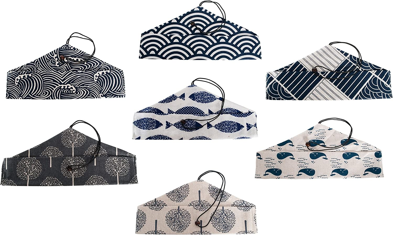 Tableware are not included Islandoffer wholesales 7 X Japanese Style Ocean Blue Plain Pattern Tableware Bags
