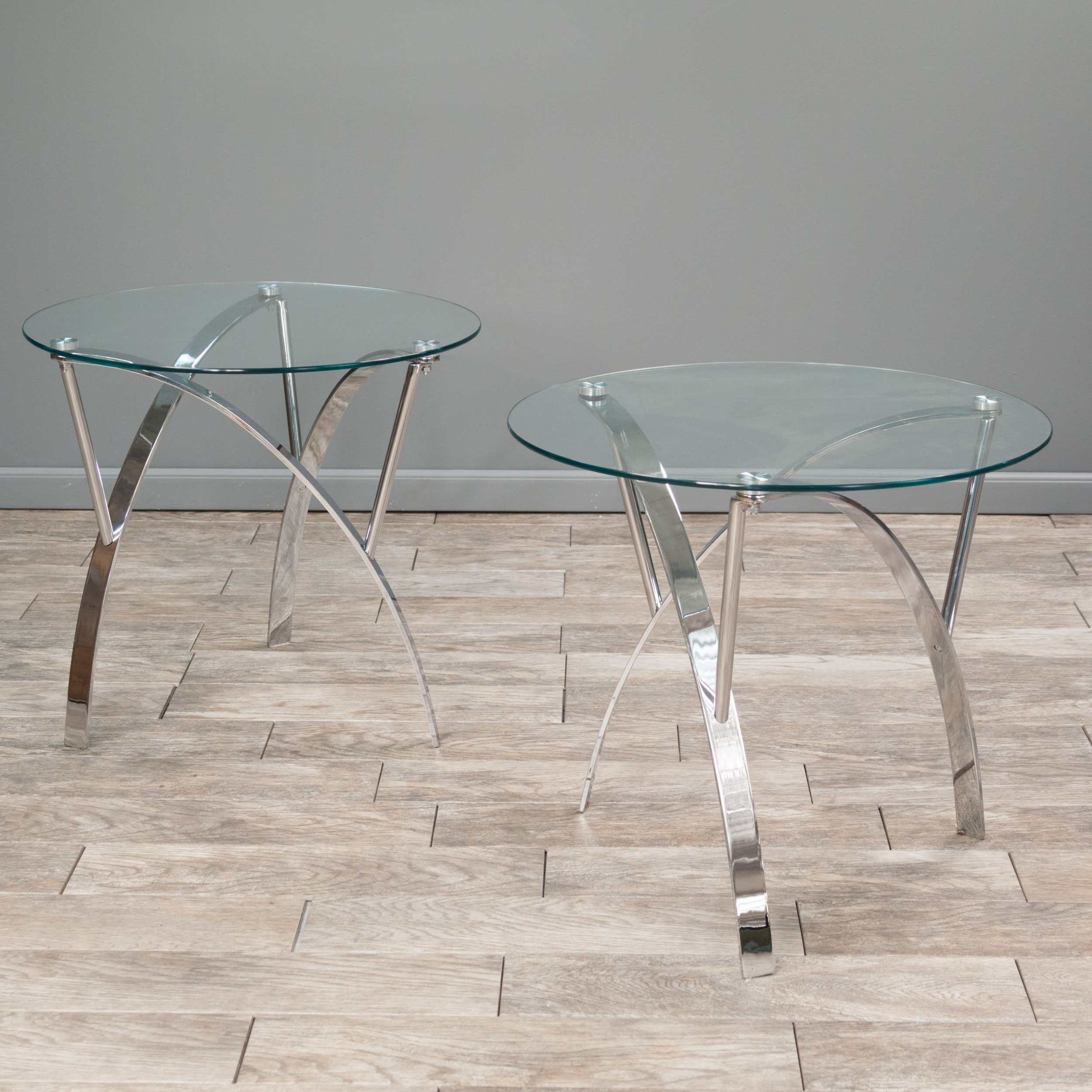 Modhaus Set Of 2 Modern Art Deco Round Glass Style Chrome Silver Metal Accent Stool Side End Table With Glass Top Includes Living Tm Pen Buy Online In Qatar At Qatar Desertcart Com Productid