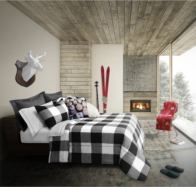 Safdie & Co. Luxury Set Comforter, King, White/Black 3