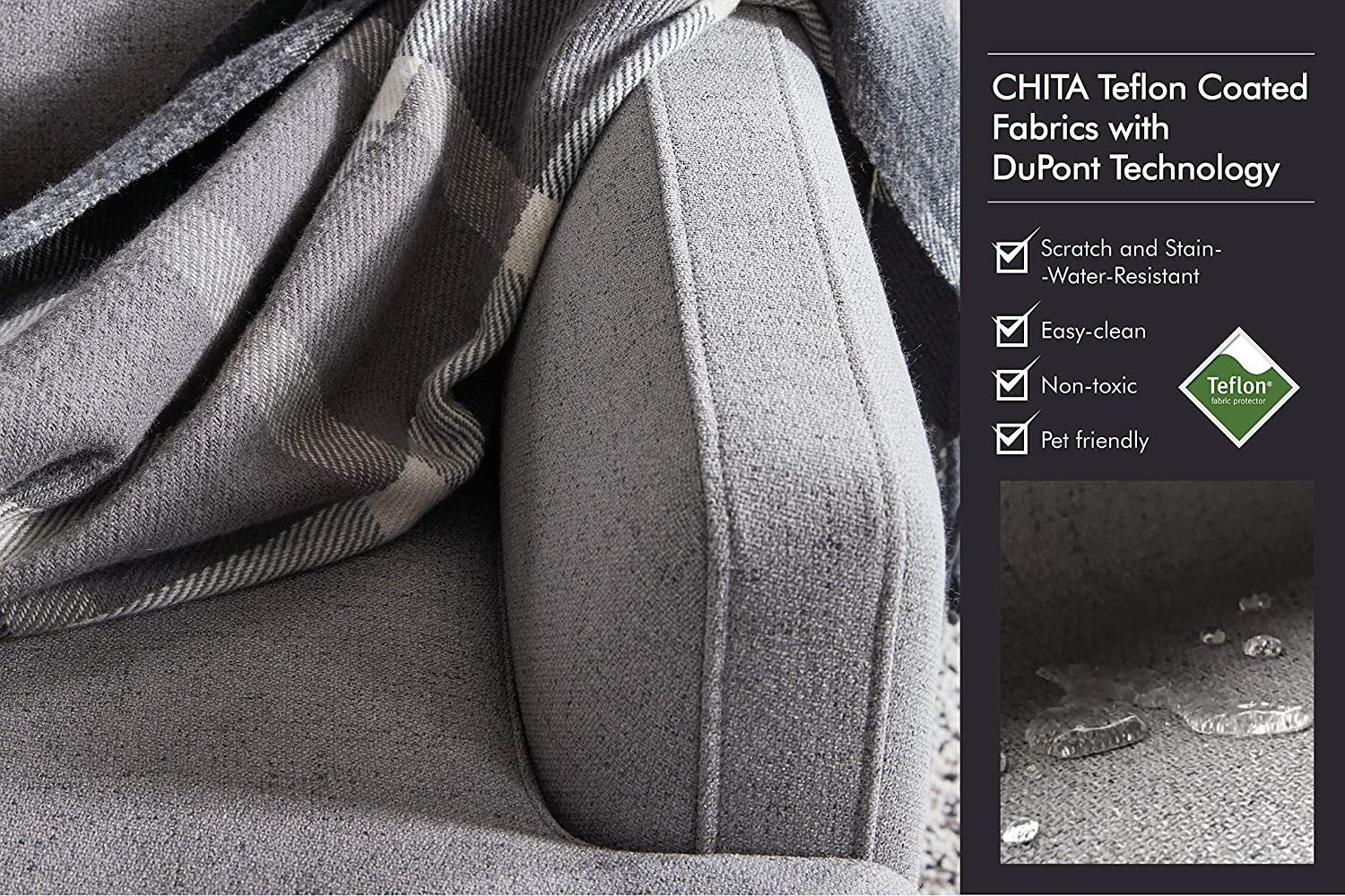 Grey Modern Fabric Couch for Living Room 【Left Seat Module】 CHITA Modular Sofa and Loveseat