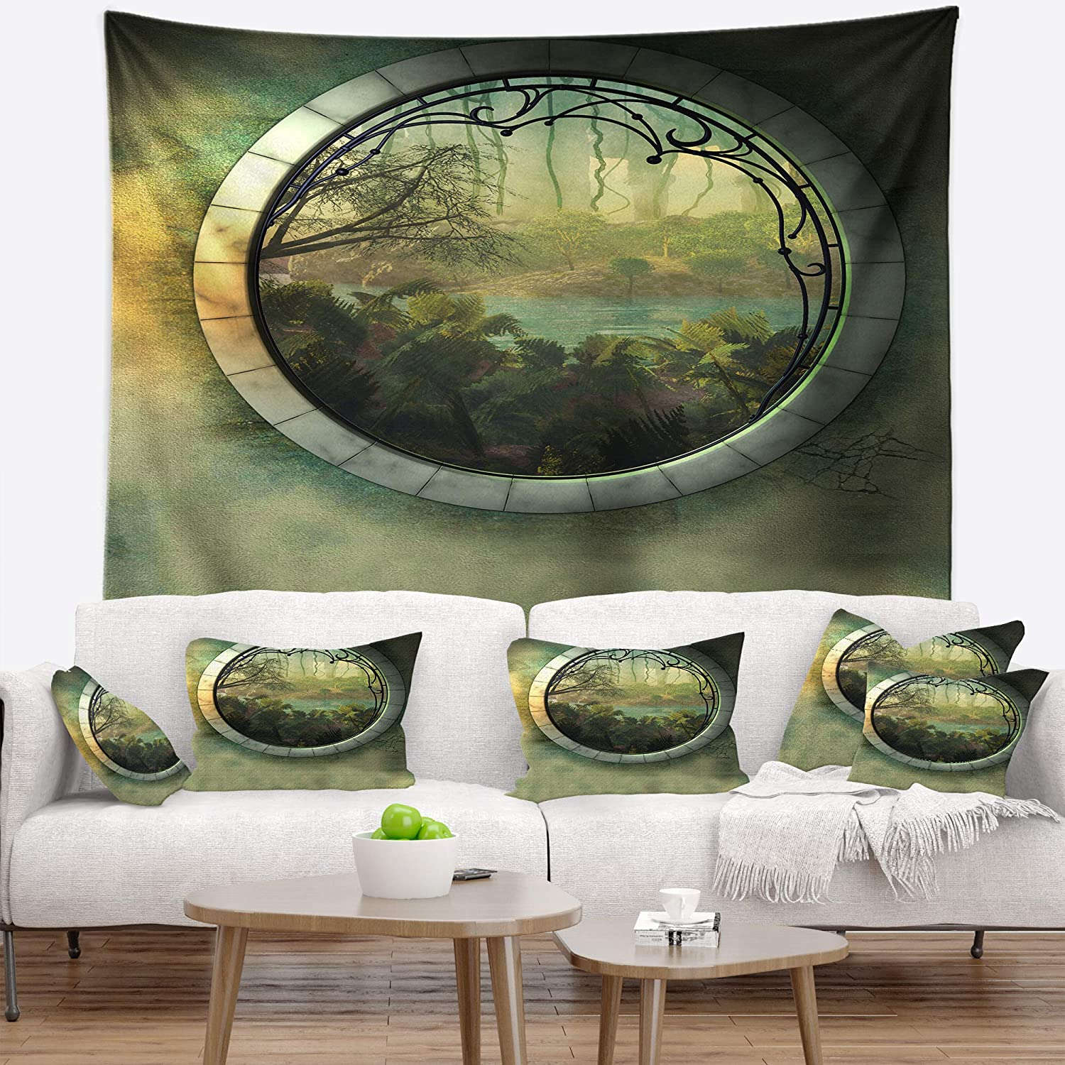 in 50 in x 60 in Designart TAP9579-50-60  Green Fantasy Landscape with Frame Photography Blanket D/écor Art for Home and Office Wall Tapestry Large