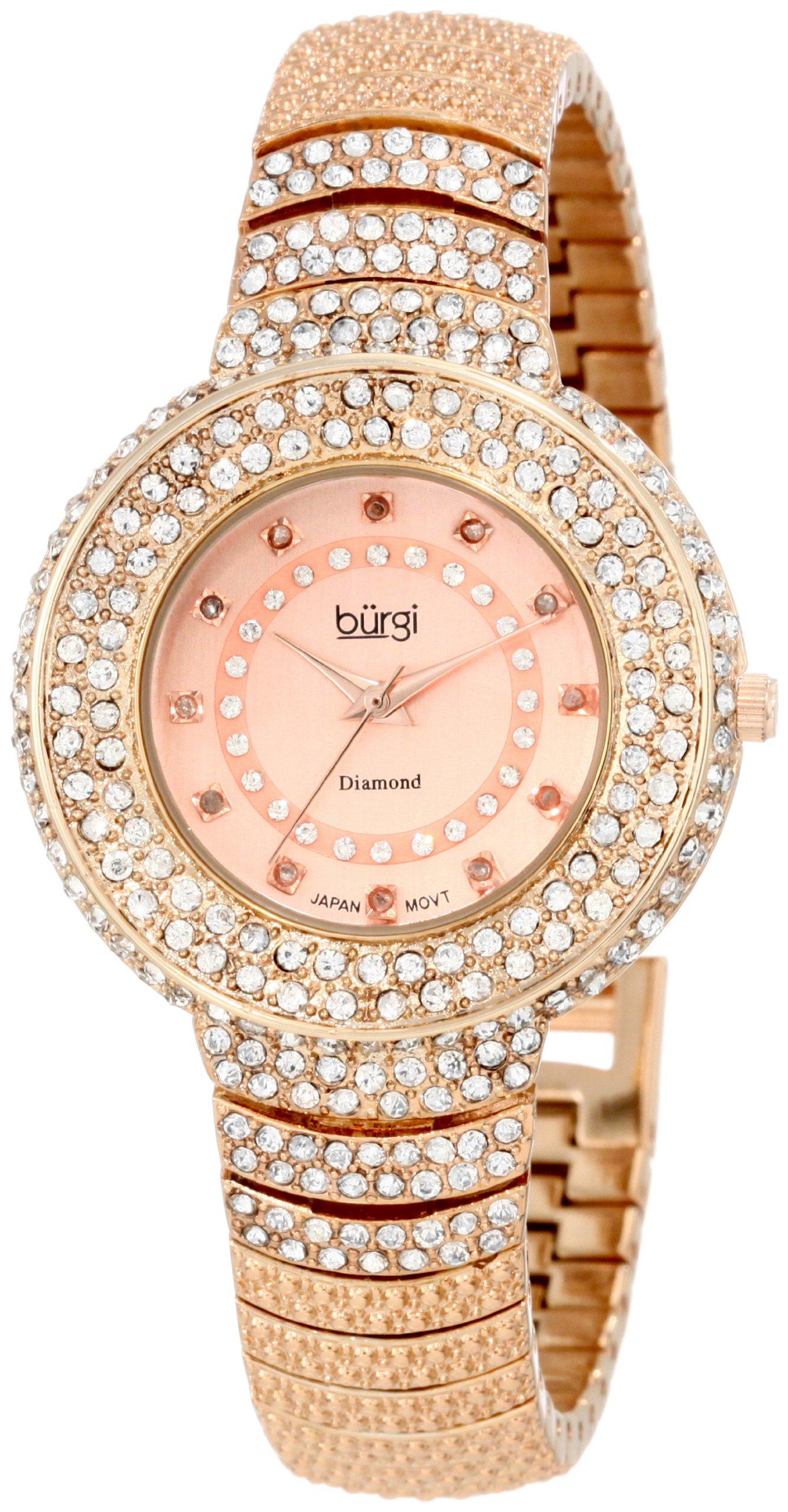 Burgi Women's BUR048RG Diamond Accent Crystal Fashion Watch