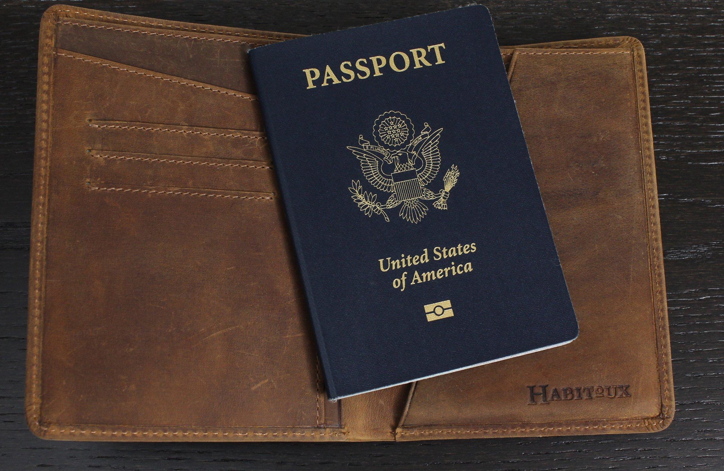 RFID Blocking Passport Holder Travel Wallet - Genuine Crazy Horse Leather by Habitoux (Image #3)