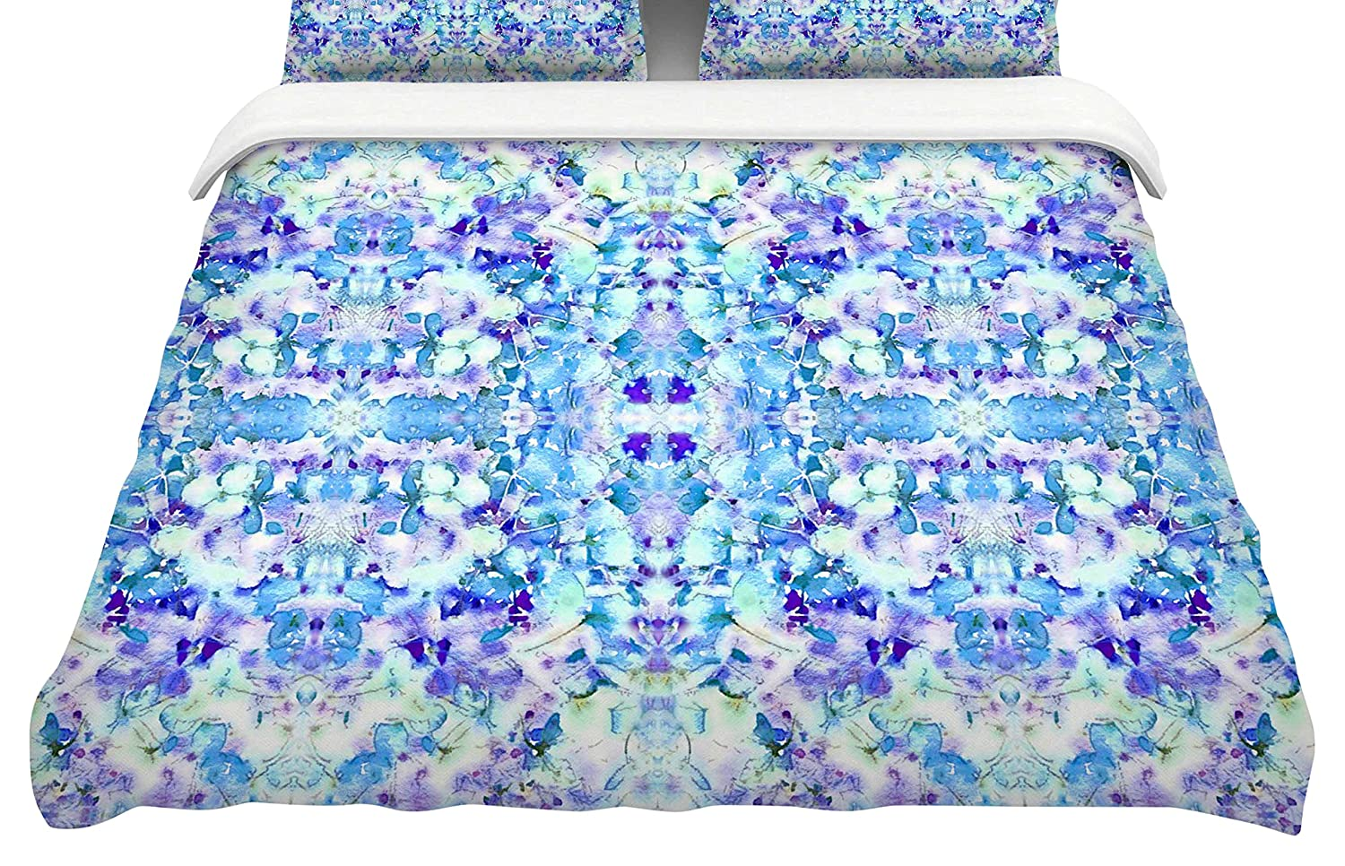 104 x 88, Kess InHouse Carolyn Greifeld Floral Fantasy Blue Reflection King Cotton Duvet Cover