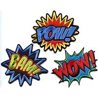 Lot of 3 POW! WOW! BAM! superhero comics retro fun embroidered appliques iron-on patches
