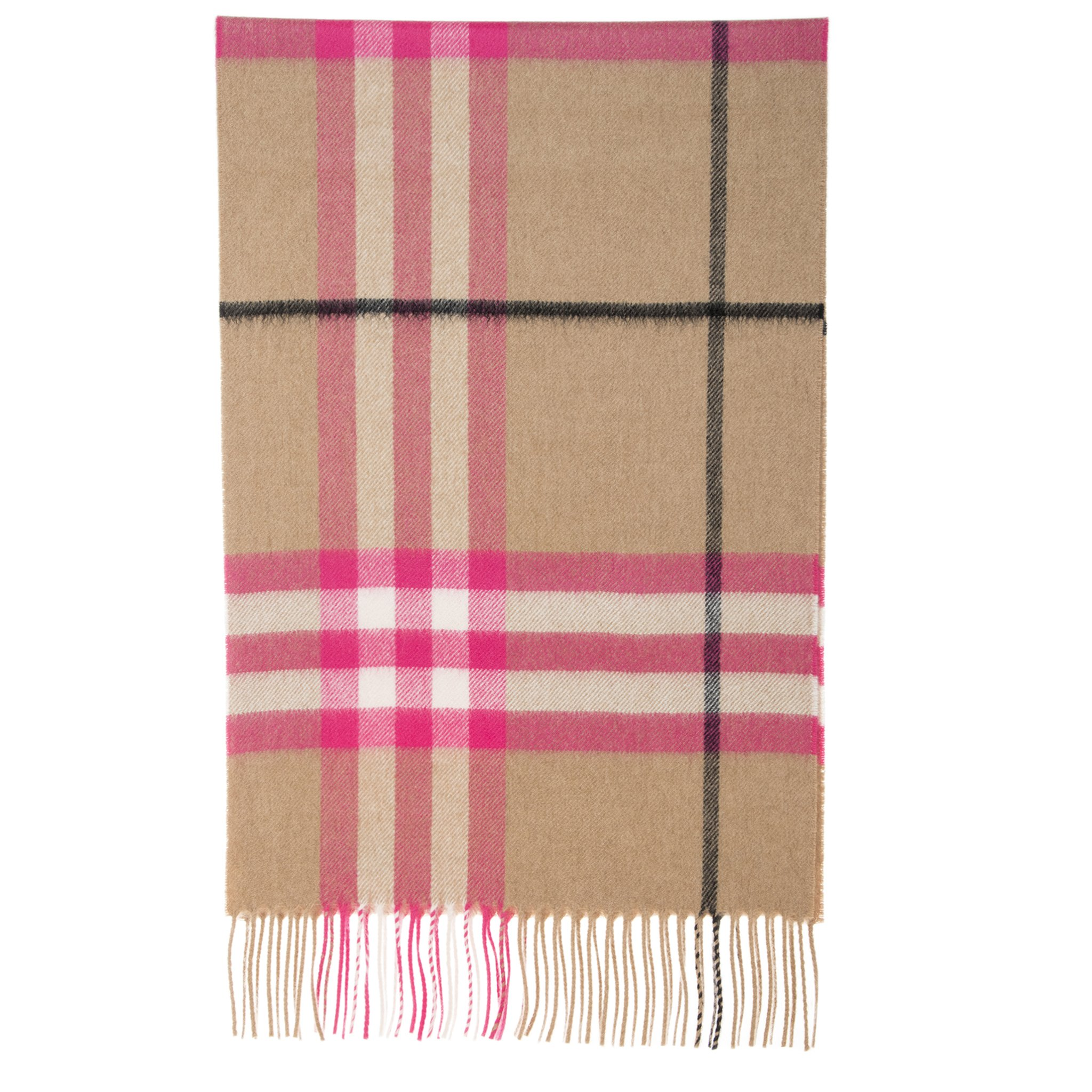 Burberry Women's The Classic Check Cashmere Scarf Bright Peony