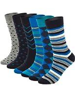 Mens Blue Dress Crew Socks, 6 Pair Funky Argyle Socks with Stripe Patterned Designs