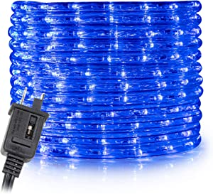 WYZworks 150' feet Blue LED Rope Lights - Flexible 2 Wire Accent Holiday Christmas Party Decoration Lighting | ETL & UL Certified