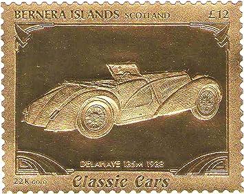 Stampbank 22K Carat Gold Leaf automóviles Coches clásicos Sellos Delahaye 135m 1938 / Bernera Islas - Escocia / MNH: Amazon.es: Juguetes y juegos