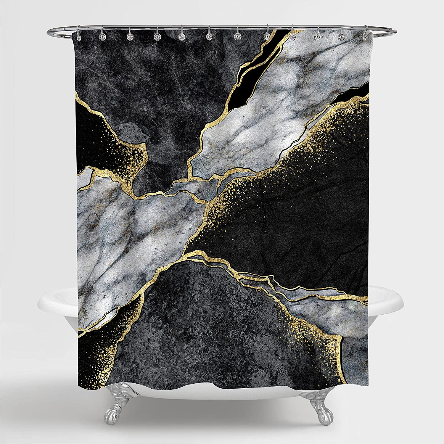 MitoVilla Black Marble Shower Curtain for Bathroom, Abstract Grey Black and White Marble with Gold Cracks Bathroom Curtain for Modern Bath Decor, Stone Texture Stall Shower Curtain, 72