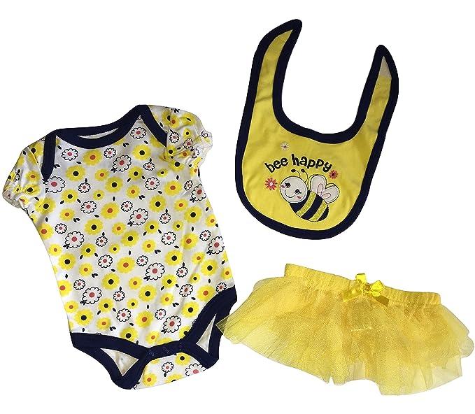 Amazon.com: Buster café 3 piezas bebé niñas Bee Happy ...