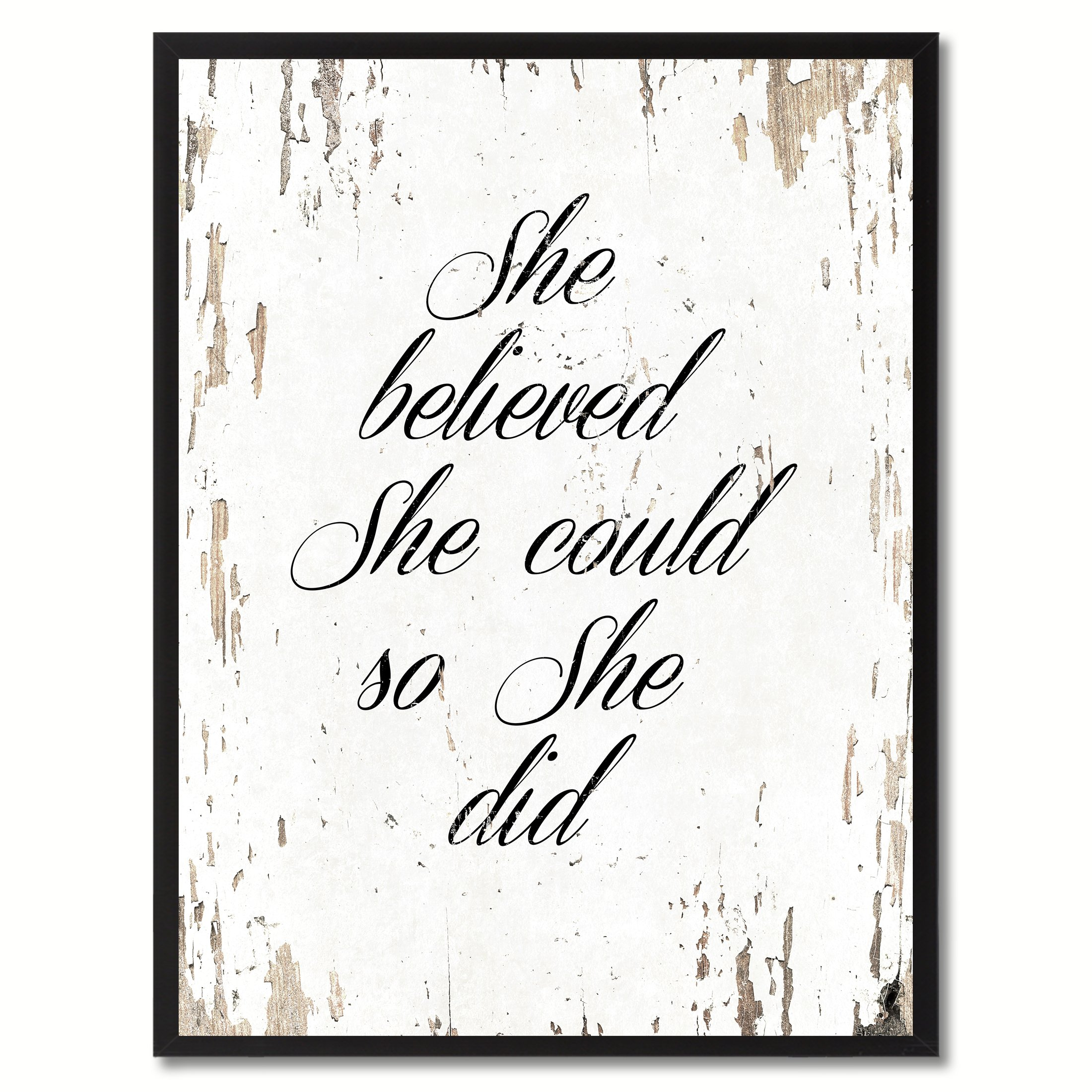 She Believed She Could So She Did Quote Saying Canvas Print Home Decor Wall Art Gift Ideas, Black Picture Frame, White, 7'' x 9'' by SpotColorArt