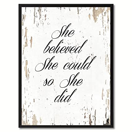 Amazon.com: SpotColorArt She Believe She Could So She Did Motivation ...