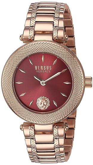 Versus by Versace - Reloj de cuarzo para mujer, acero inoxidable bañado en oro (