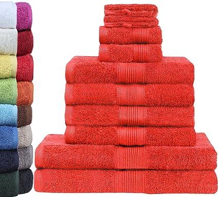 Juego de 10 toallas de rizo de calidad superior, en varios tamaños: