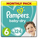 Pampers Baby-Dry Size 6, 124 Nappies, 13-18 kg, Air Channels for Breathable Dryness Overnight, Monthly Pack