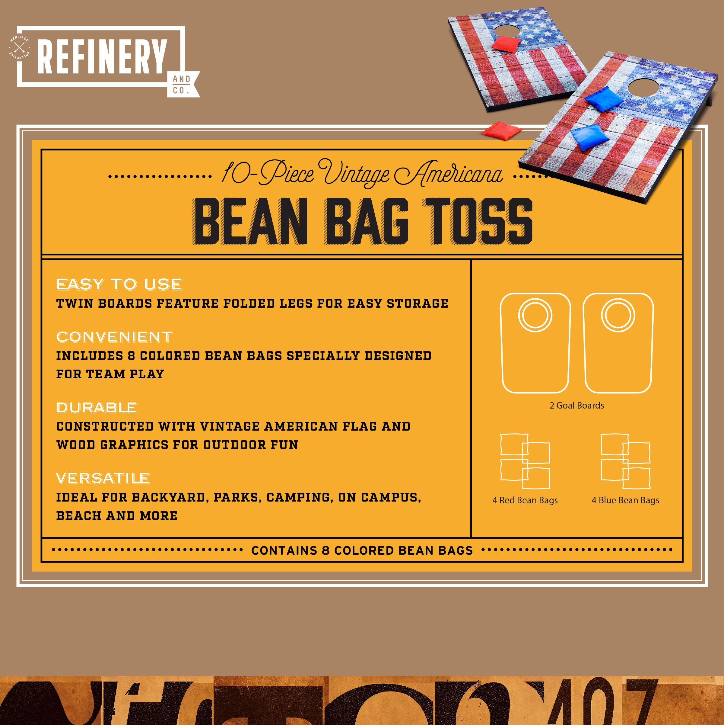 Refinery Vintage Americana Deluxe Bean Bag Toss Set, Complete Cornhole Game, Best Picnic & BBQ Target Sport, 2 Folding Targets, 8 Premium Bean Bags in 2 Colors for Team Play, Easy Storage, Family Fun by Refinery (Image #3)