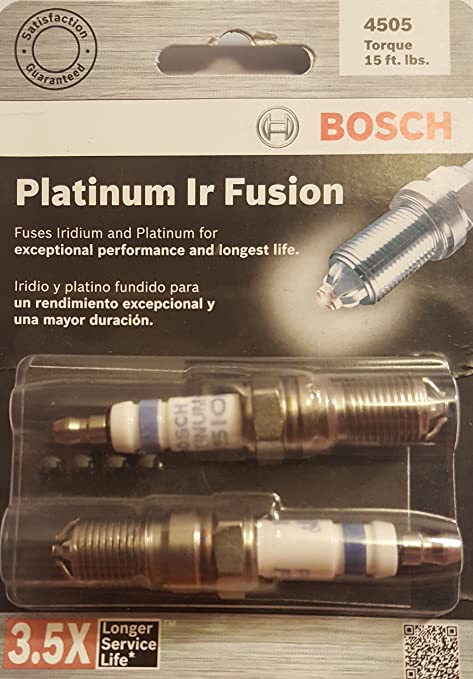 Bosch (4505 HGR8DQI Platinum IR Fusion Bujía (Paquete de 2)