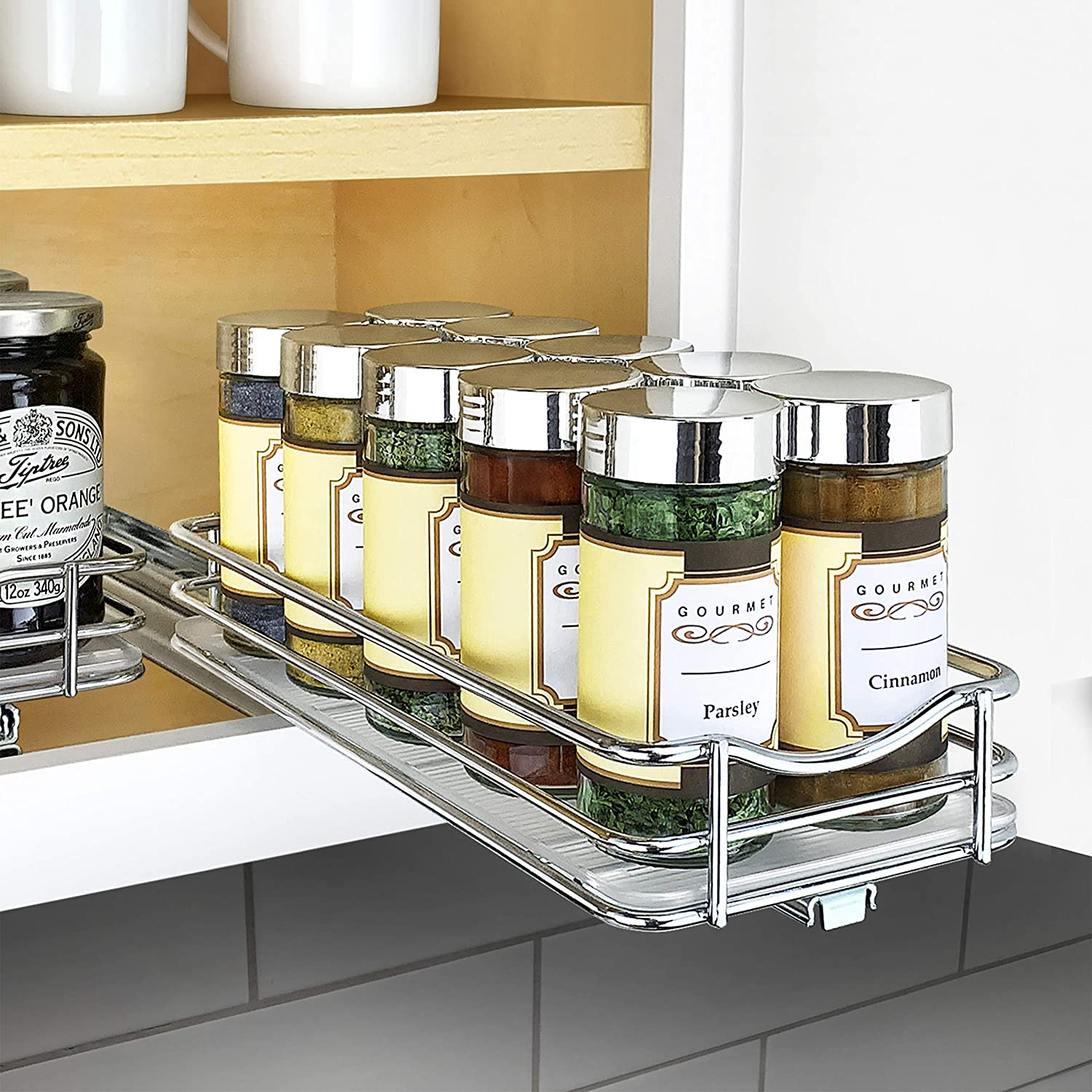 """Lynk Professional 430421DS Slide Out Spice Rack Cabinet Organizer, 4"""" Wide Single, Chrome"""