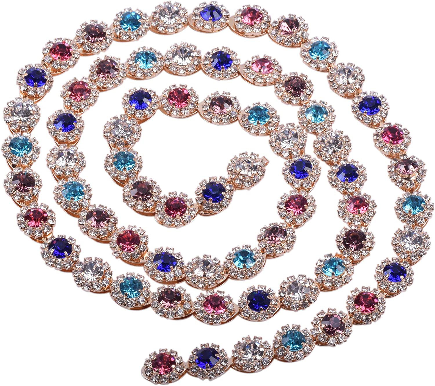 KAOYOO 1 Yard Eye-Shaped Crystal Rhinestone Claw Chain with Inlaid Flower Pattern Rhinestone in The Middle for Wedding Cake Decoration,Sewing Craft or as a Present for Your Friends