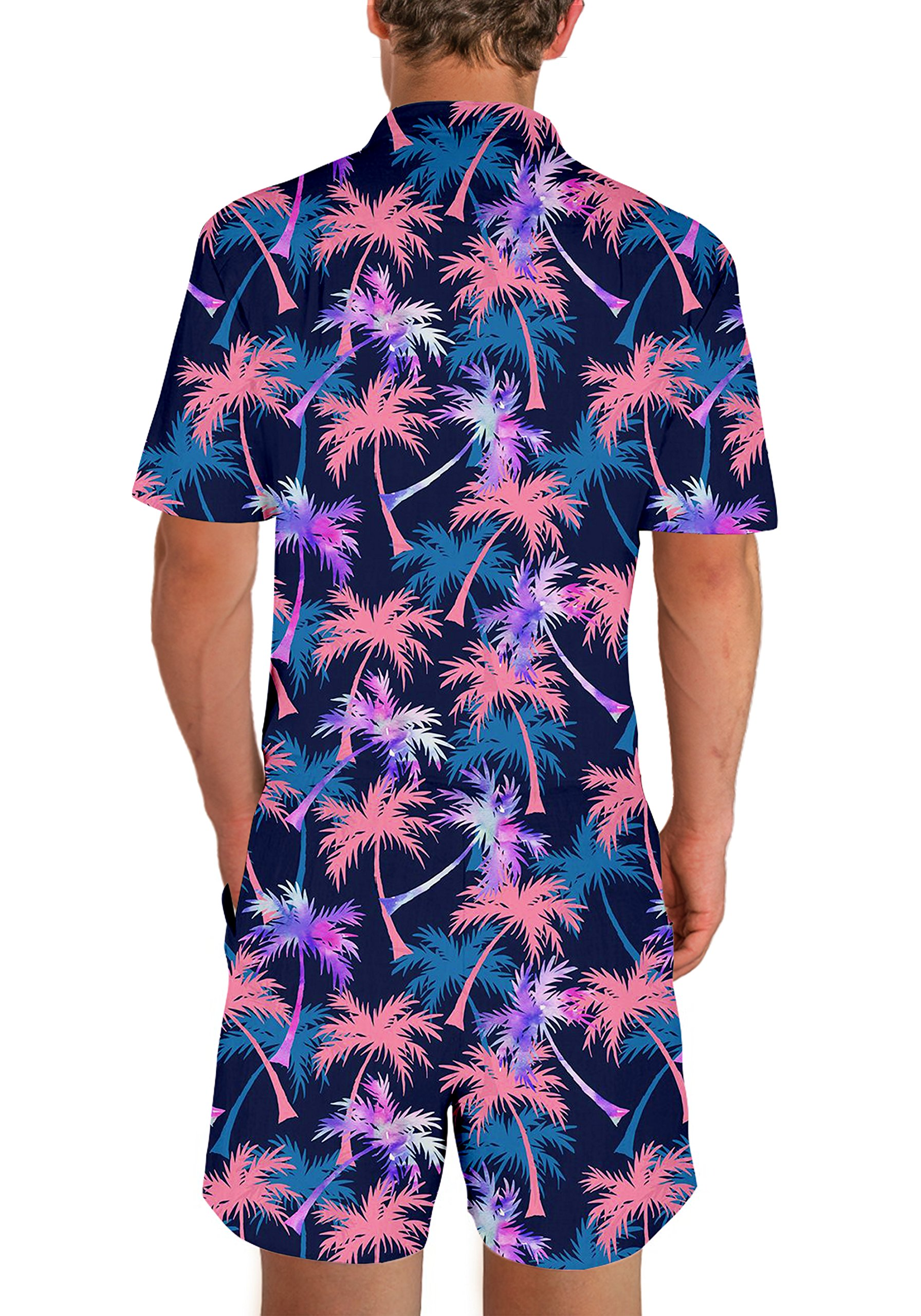 Goodstoworld Mens Jumpsuits 3D Tropical Leaves Print Zip up Romper Casual Grandad Shirt Cargo Shorts Overalls Playsuit for Men XXL by Goodstoworld (Image #3)