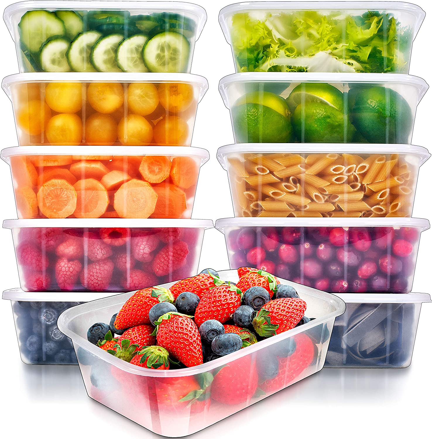 Food Storage Containers with Lids (10 Pack, 25 Ounce) - Food Containers Meal Prep Plastic Containers with Lids Food Prep Containers Deli Containers with Lids Freezer Containers by Prep Naturals