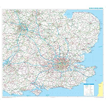 Map Around London.London Wall Map Radius 100 Miles Around London