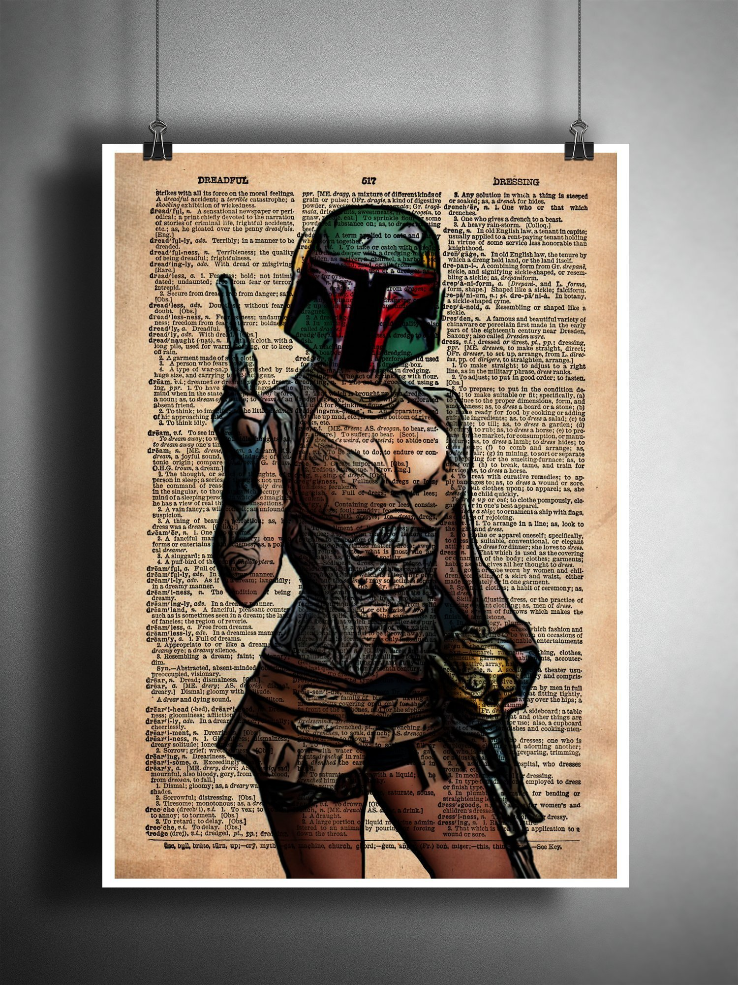 Boba Fett pin up girl, star wars art, sexy star wars, cool pop art, vintage dictionary art print 5