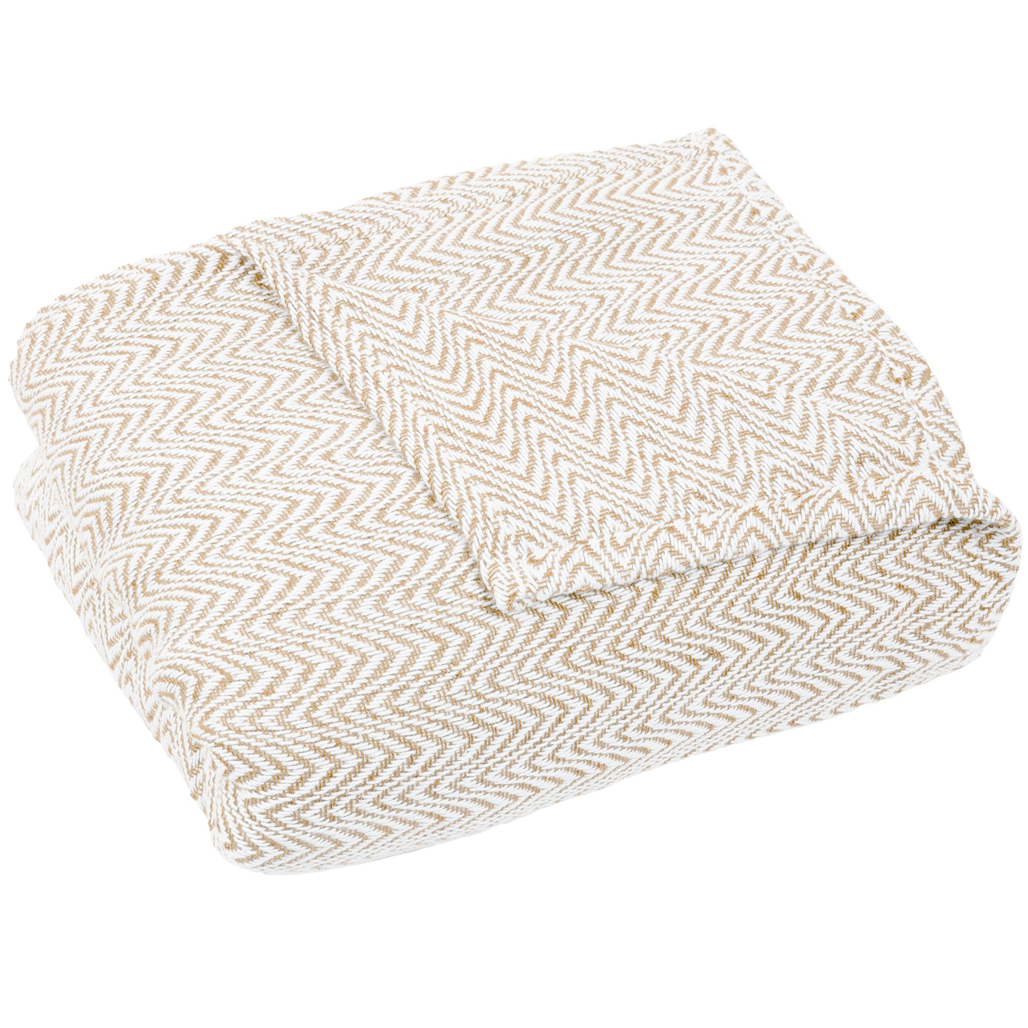 Lavish Home Blanket-100% Cotton King Chevron Luxury Soft Blanket by Taupe