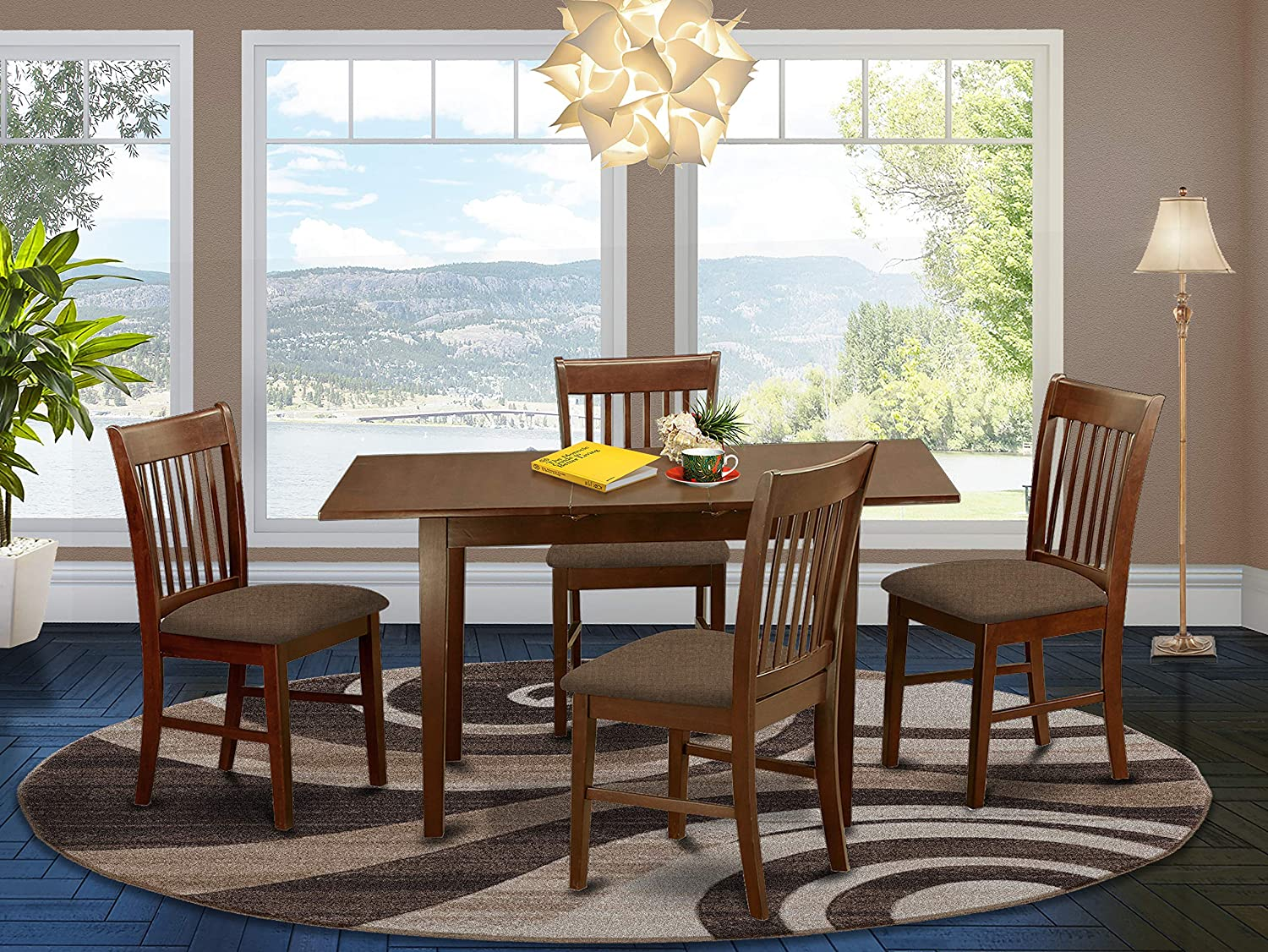 Amazon Com East West Furniture Nofk5 Mah C 5 Piece Dining Set 4 Dining Room Chairs And A Wooden Table Rectangular Table Top Slatted Back And Linen Fabric Seat Mahogany Finish Furniture