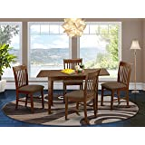 East West Furniture NOFK5-MAH-C 5-Piece Dining Set – 4 Dining Room Chairs and a Wooden Table - Rectangular Table Top – Slatte