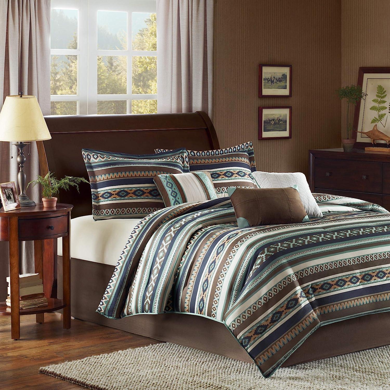 "Madison Park Cozy Comforter Set-Rustic Southwestern Style All Season Down Alternative Casual Bedding, Matching Shams, Decorative Pillows, Cal King(104""x92""), Malone, Ikat Blue, 7 Piece"
