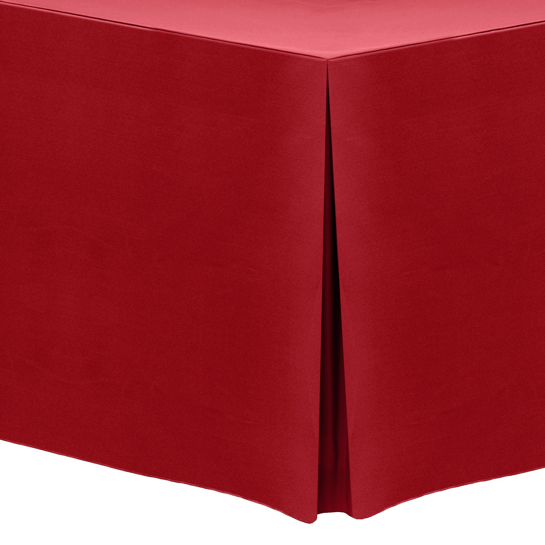 Ultimate Textile (3 Pack) 6 ft. Fitted Polyester Tablecloth - for 30 x 72-Inch Banquet and Folding Rectangular Tables, Holiday Christmas Red