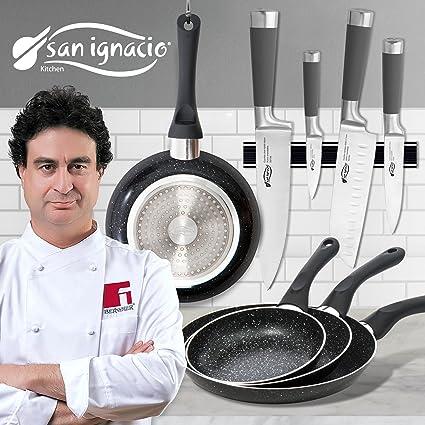 San Ignacio - Set de útiles de Cocina: Cuchillos y sartenes ...
