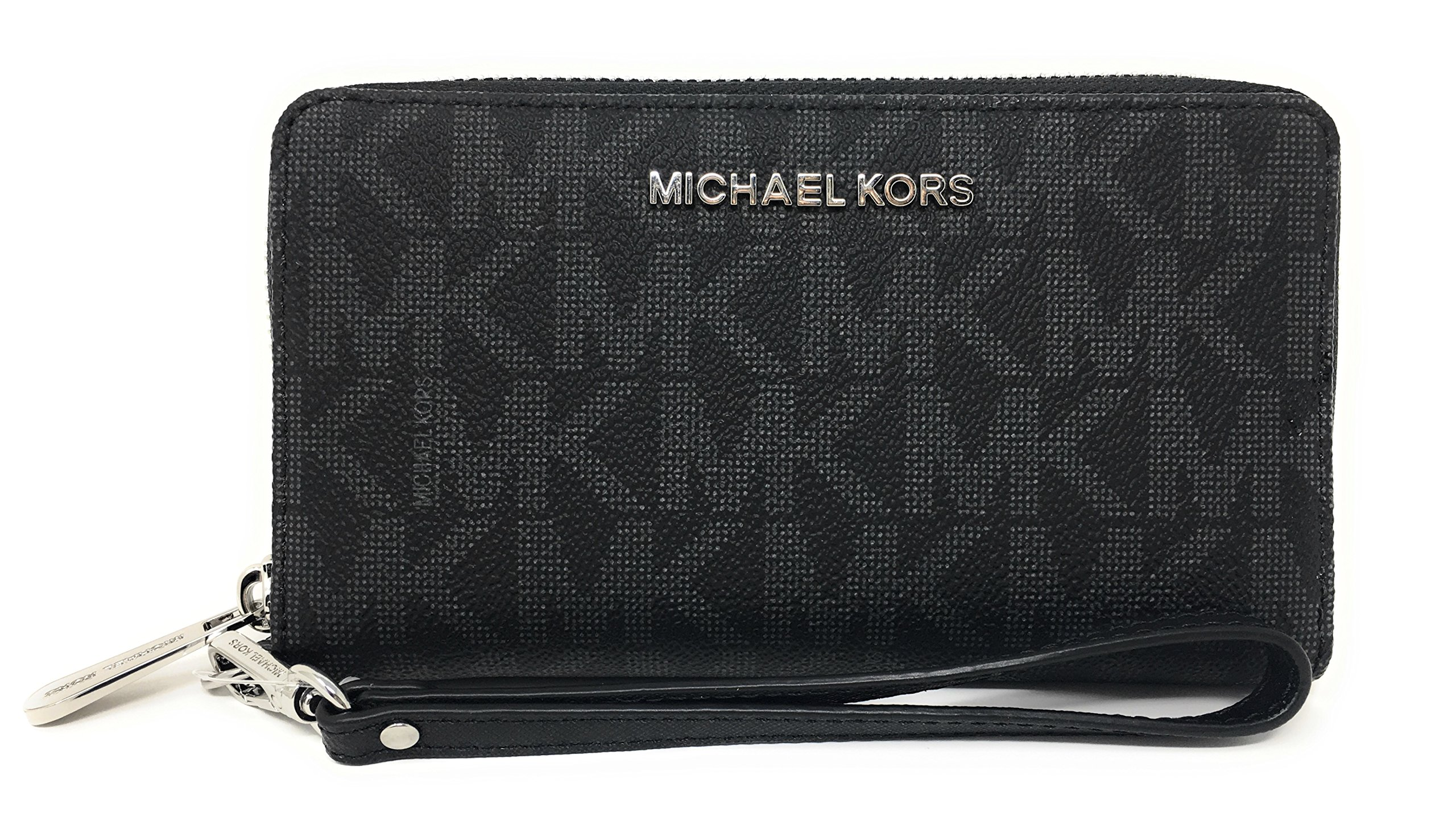 Michael Kors Jet Set Travel Large Flat Multifunction Phone Case Wristlet (Black)