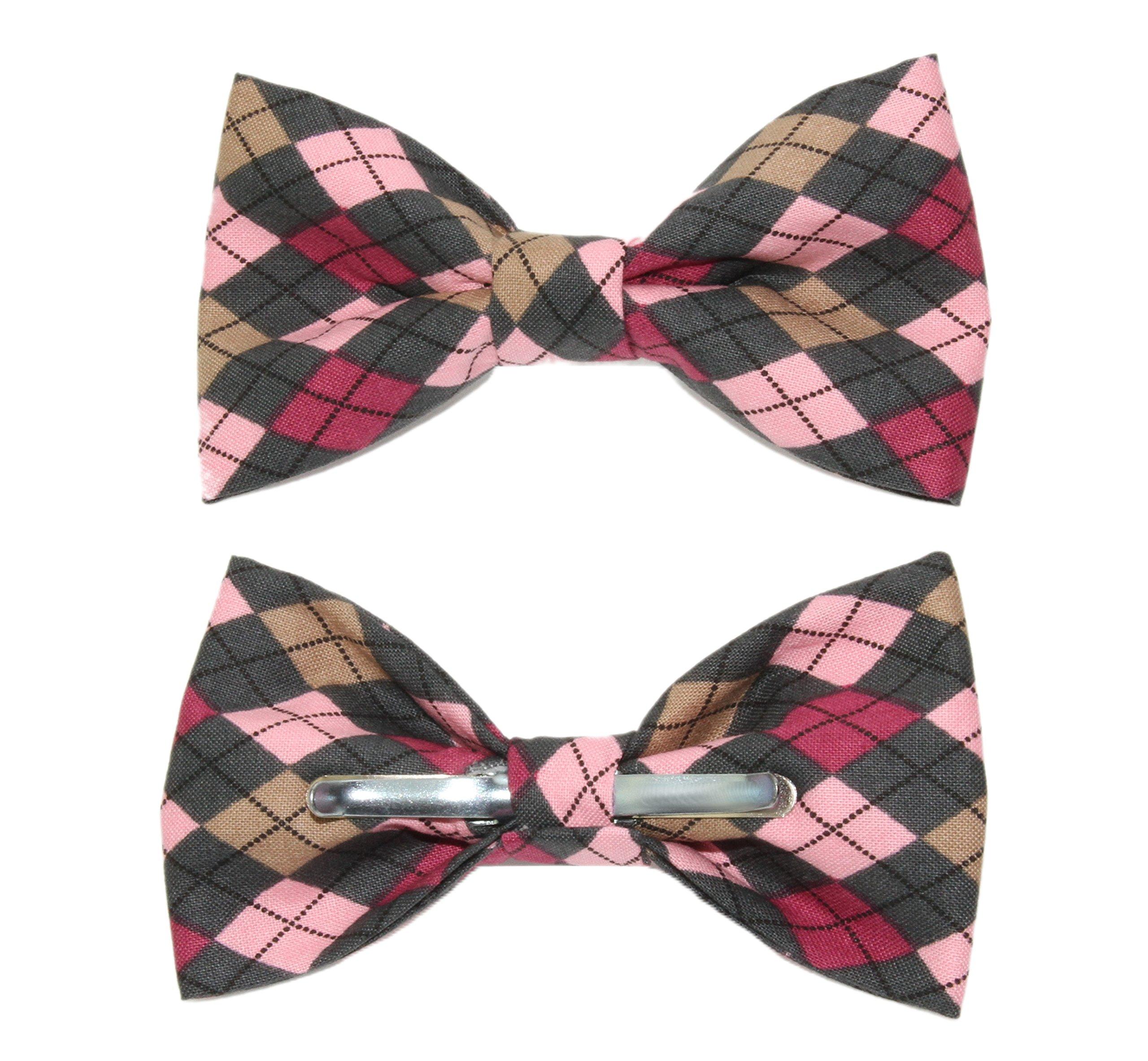 amy2004marie Men's Pink Argyle Clip On Cotton Bow Tie Novelty Bowtie