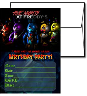 12 FIVE NIGHTS AT FREDDYS Birthday Invitation Cards White Envelops Included