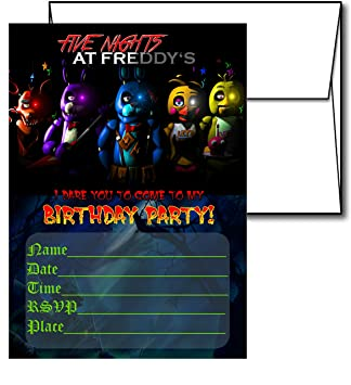 Image Unavailable Not Available For Color 12 FIVE NIGHTS AT FREDDYS Birthday Invitation