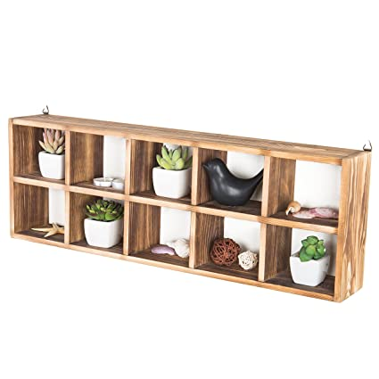 Wall Mountable Pine Wood 10-Compartment Shadow Box Freestanding Cubby Storage Display Shelf  sc 1 st  Amazon.com & Amazon.com: Wall Mountable Pine Wood 10-Compartment Shadow Box ...