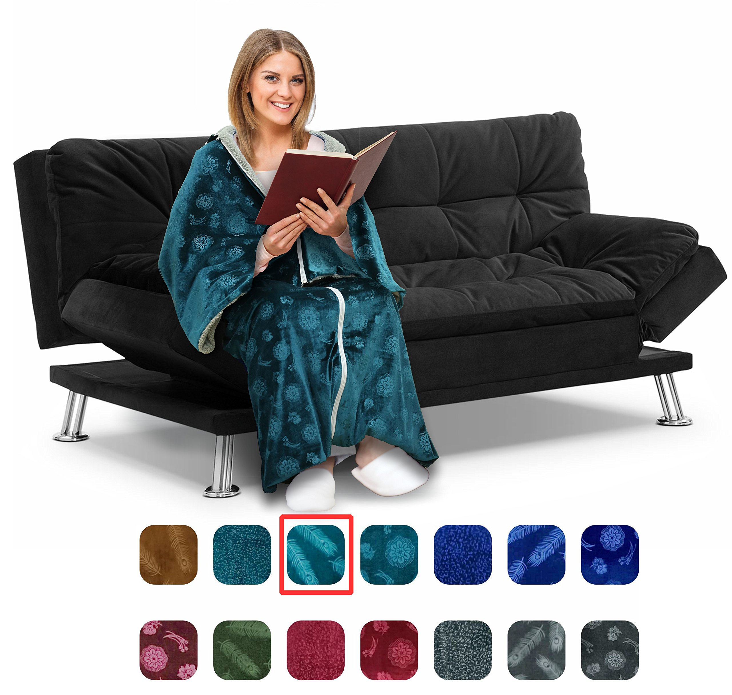 Cōzee Deluxe Wearable Blanket for Adults - Elegant, Cozy, Extra Soft Plush Throw Blanket - Ideal for Elderly & Handicap Clothing, Wheelchairs, or Watching TV (Turquoise-Feathers)