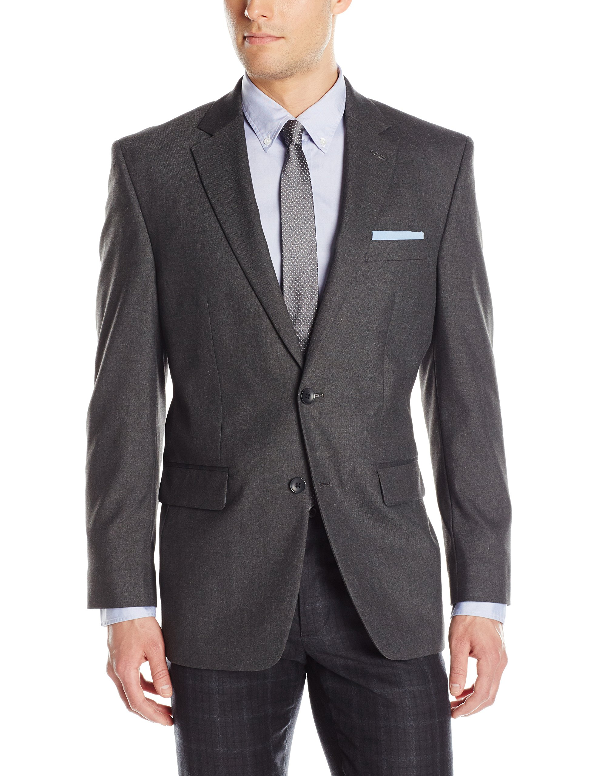 Haggar Men's J.m Premium Performance Stretch Stria 2-Button Suit Separate Coat, Dark Heather Grey, 42R