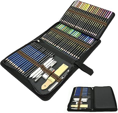 Juego de 72 Profesional Lápices de Colores, Lapices de Dibujo Artístico Conjunto Acuarelables, Carbón, Estuche Lápices, Ideal para Artistas, Adultos y Niños Colorear, Dibujo y Esbozos: Amazon.es: Hogar