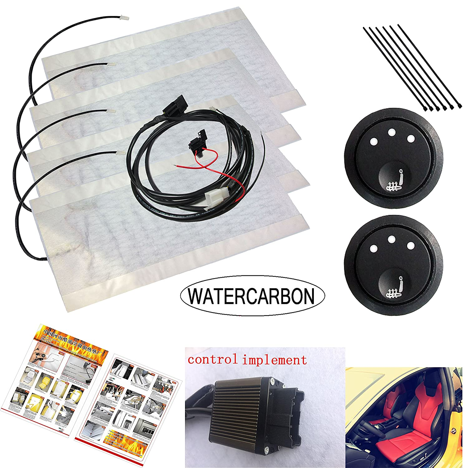 Carbon Fiber Seat Heater Kit 3 White Point Round 3 Gear Heating Switch Set Car Auto Heated Heating Seat Cushion Cover Heater Warmer Pad Winter 12V WATERCARBON WATERCARBON 10-23
