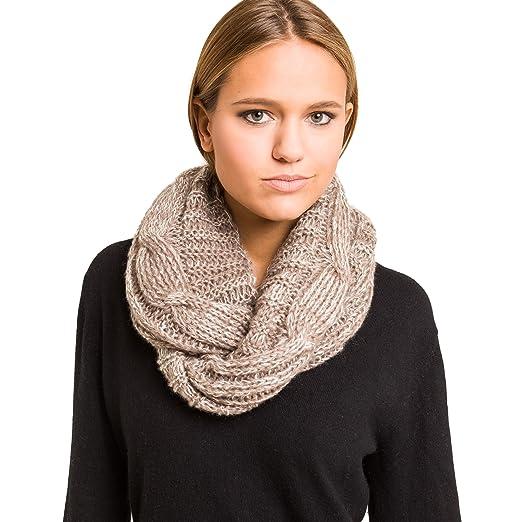 ec8620e2e5f Knitted Scarf Women Fall Winter Knit Soft Cozy Warm Pattern Elegant Scarves  (Brown)